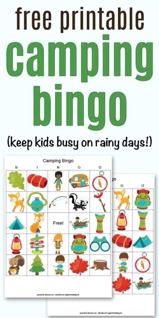 image of printable camping bingo game