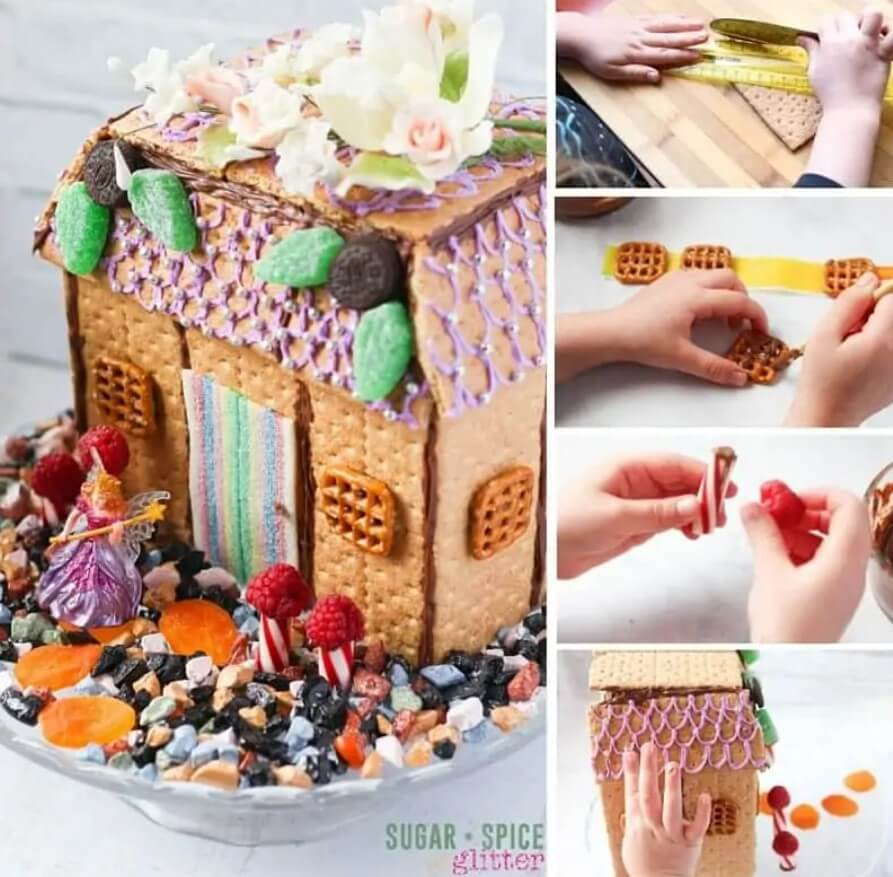 a fairy house made from crackers and candy