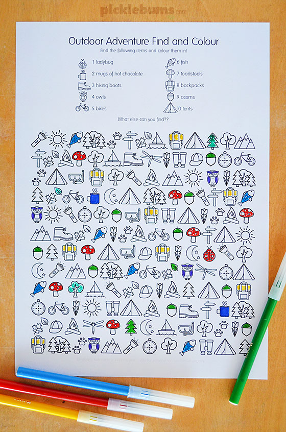 printable camping colour and find