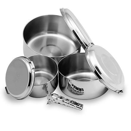 stainless steel nesting camping pots