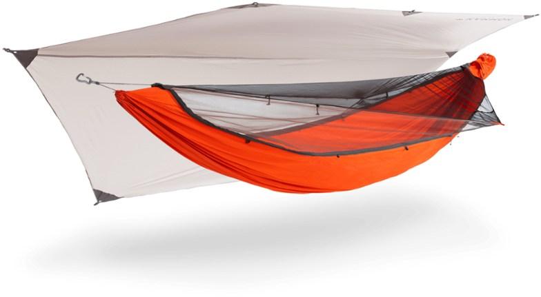 orange sleep hammock with rain fly