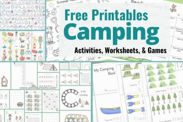 various camping printable sheets for kids