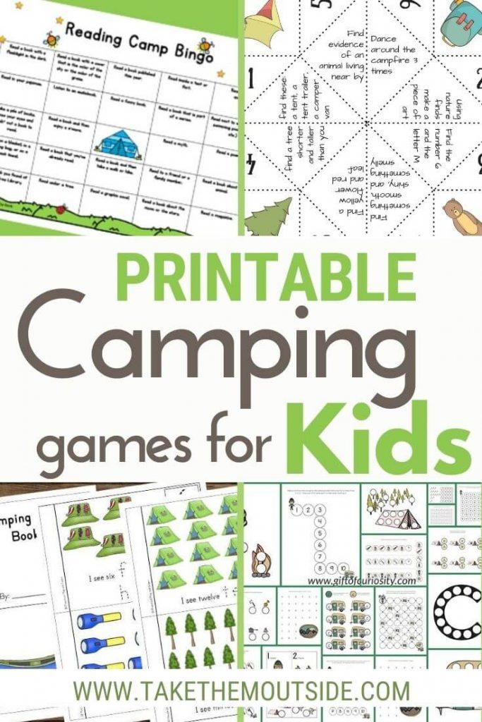various free printable camping sheets for kids