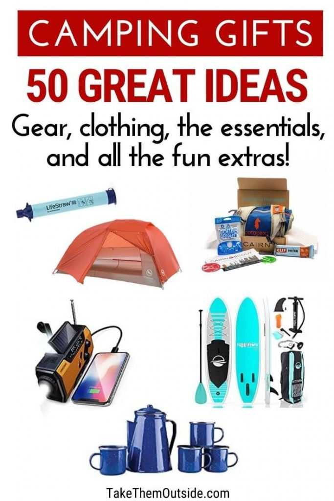 various camping gifts for him, images of a tent, inflatable kayak, coffee set, life straw, and rechargeable radio
