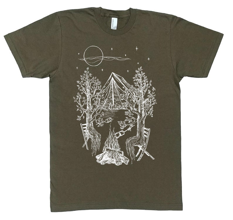grey tshirt with trees roasting marshmallows at the campground