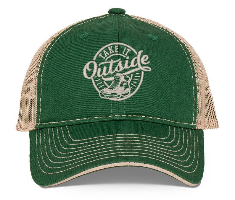 dark green ball cap, reads take it outside